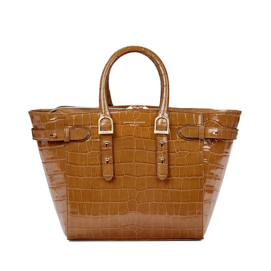 Midi Marylebone Tech Tote in Deep Shine Vintage Tan Croc from Aspinal of London