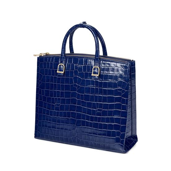 Editor's Tote in Deep Shine Navy Croc from Aspinal of London