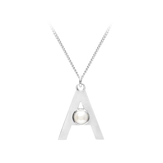 Sterling Silver & Akoya Pearl Alphabet Pendant Necklace (Letter A) from Aspinal of London