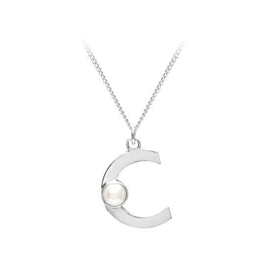 Sterling Silver & Akoya Pearl Alphabet Pendant Necklace (Letter C) from Aspinal of London