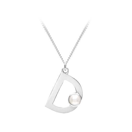 Sterling Silver & Akoya Pearl Alphabet Pendant Necklace (Letter D) from Aspinal of London
