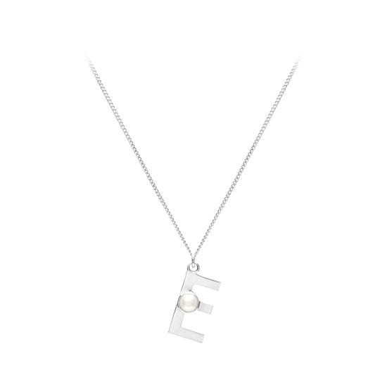 Sterling Silver & Akoya Pearl Alphabet Pendant Necklace (Letter E) from Aspinal of London