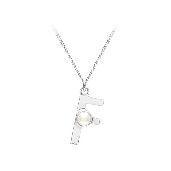Sterling Silver & Akoya Pearl Alphabet Pendant Necklace (Letter F) from Aspinal of London