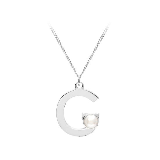 Sterling Silver & Akoya Pearl Alphabet Pendant Necklace (Letter G) from Aspinal of London
