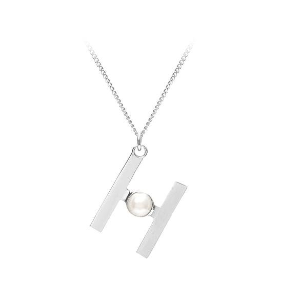 Sterling Silver & Akoya Pearl Alphabet Pendant Necklace (Letter H) from Aspinal of London