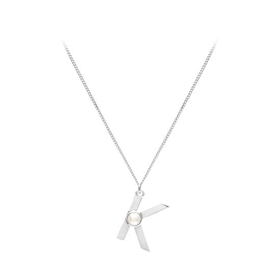 Sterling Silver & Akoya Pearl Alphabet Pendant Necklace (Letter K) from Aspinal of London