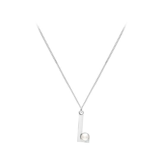 Sterling Silver & Akoya Pearl Alphabet Pendant Necklace (Letter L) from Aspinal of London
