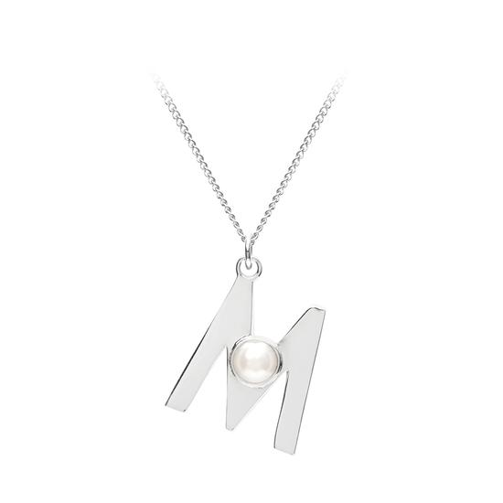 Sterling Silver & Akoya Pearl Alphabet Pendant Necklace (Letter M) from Aspinal of London