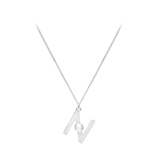 Sterling Silver & Akoya Pearl Alphabet Pendant Necklace (Letter N) from Aspinal of London