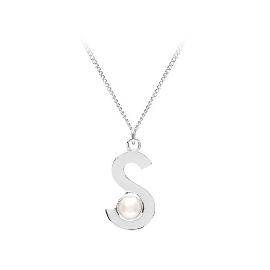 Sterling Silver & Akoya Pearl Alphabet Pendant Necklace (Letter S) from Aspinal of London