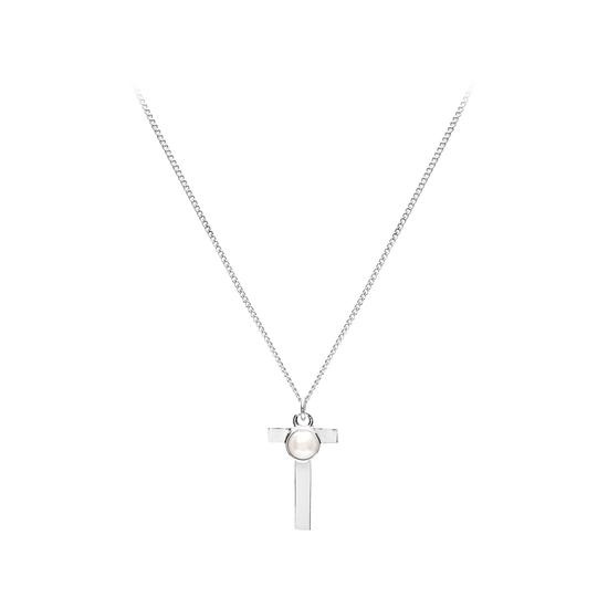 Sterling Silver & Akoya Pearl Alphabet Pendant Necklace (Letter T) from Aspinal of London