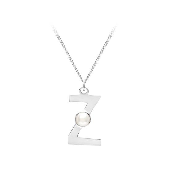 Sterling Silver & Akoya Pearl Alphabet Pendant Necklace (Letter Z) from Aspinal of London