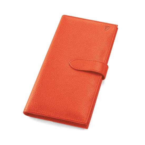 Lindberg Travel Wallet with Passport Cover in Coral Pebble from Aspinal of London