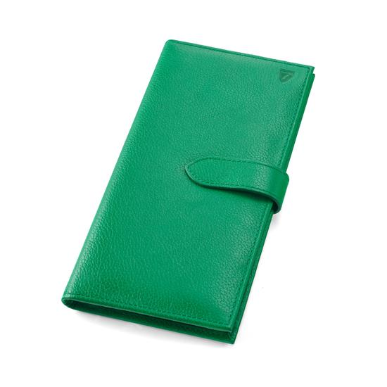 Lindberg Travel Wallet with Passport Cover in Grass Green Pebble from Aspinal of London