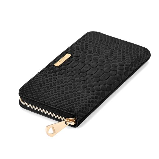 Continental Clutch Zip Wallet in Black Python from Aspinal of London