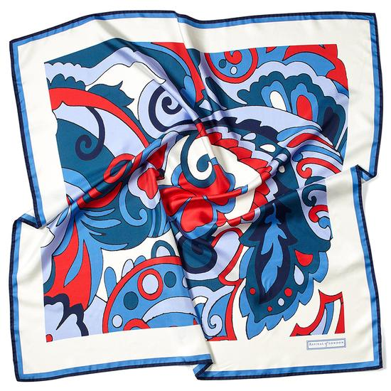 Psychedelic Silk Scarf in Navy from Aspinal of London
