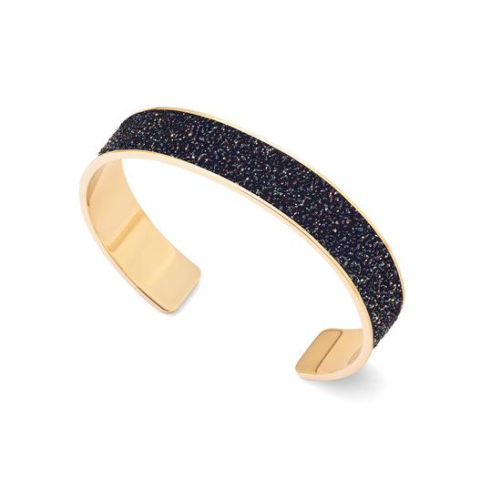 Cleopatra Skinny Cuff Bracelet in Black Multi Sparkle from Aspinal of London