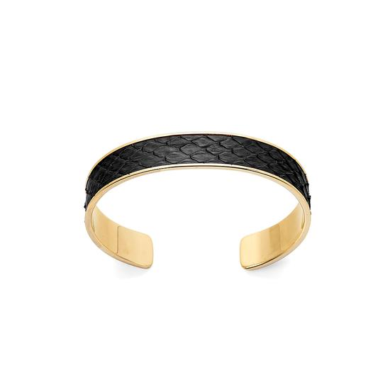 Cleopatra Skinny Cuff Bracelet in Black Python from Aspinal of London