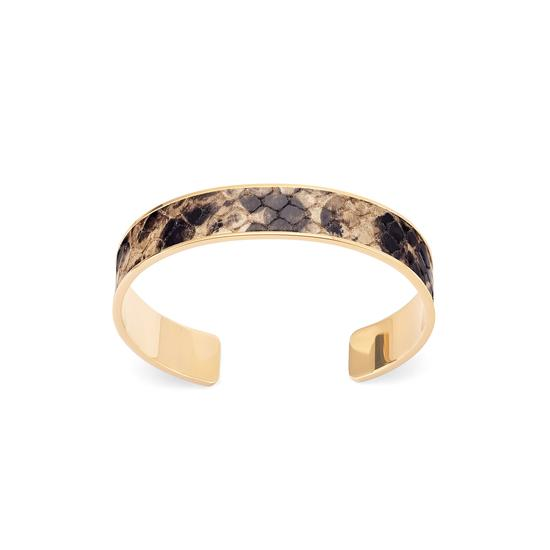 Cleopatra Skinny Cuff Bracelet in Tan Snake from Aspinal of London
