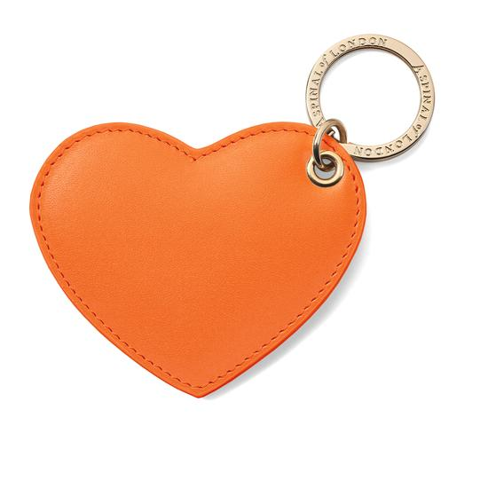 Heart Key Ring in Smooth Orange from Aspinal of London