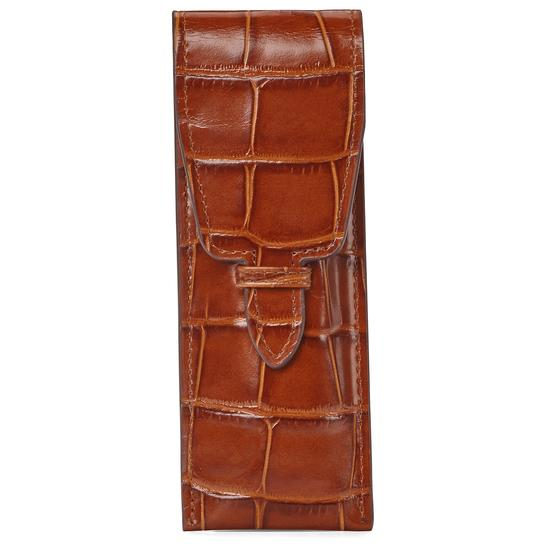 Small Pen Case in Deep Shine Vintage Tan Croc & Beige Suede from Aspinal of London