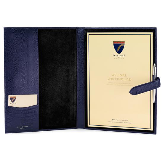 A4 Padfolio in Navy Lizard & Black Suede from Aspinal of London