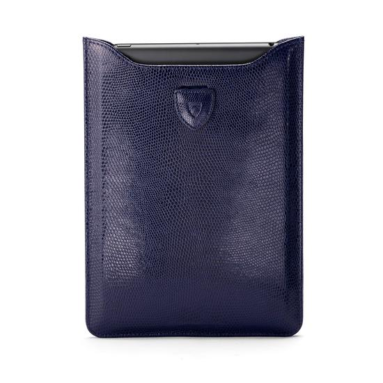 Leather iPad Air Sleeve in Midnight Blue Lizard & Cream Suede from Aspinal of London