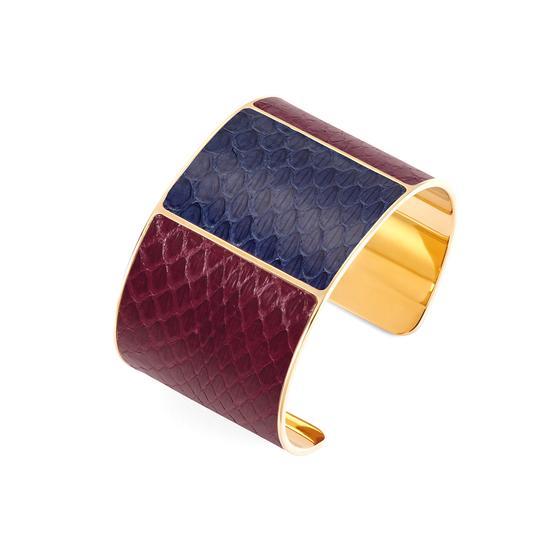 Minerva Cuff Bracelet in Bordeaux & Blue Moon Snake from Aspinal of London