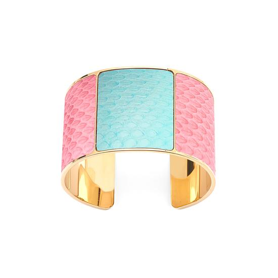 Minerva Cuff Bracelet in Blossom & Misty Blue Snake from Aspinal of London