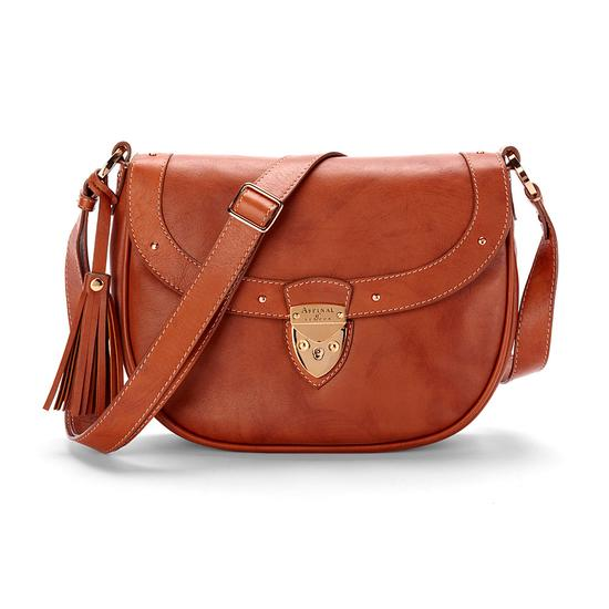 Portobello Saddle Bag in Smooth Tan & Stone Suede from Aspinal of London