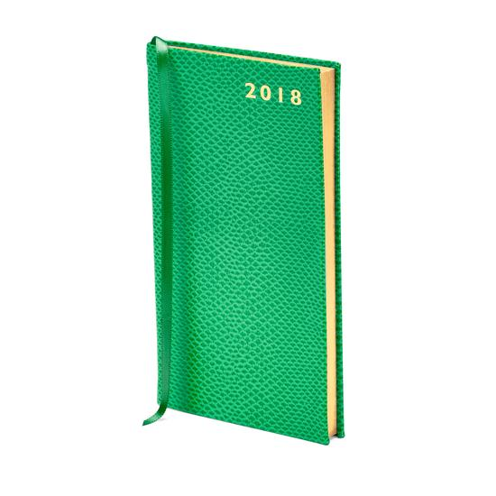 Slim Pocket Leather Diary in Grass Green Lizard from Aspinal of London
