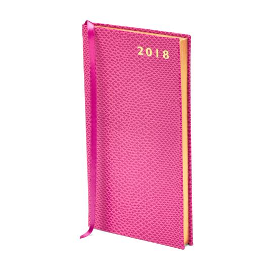 Slim Pocket Leather Diary in Raspberry Lizard from Aspinal of London