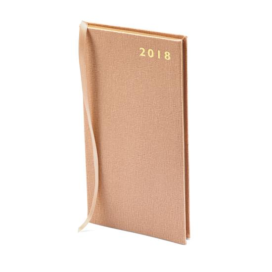 Slim Pocket Leather Diary in Deer Saffiano from Aspinal of London