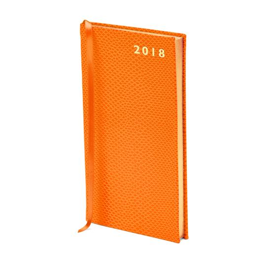 Slim Pocket Leather Diary in Orange Lizard from Aspinal of London
