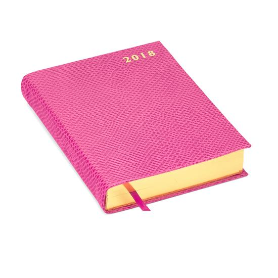 A6 Day per Page Leather Diary in Raspberry Lizard from Aspinal of London