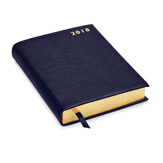A6 Day per Page Leather Diary in Midnight Blue Lizard from Aspinal of London