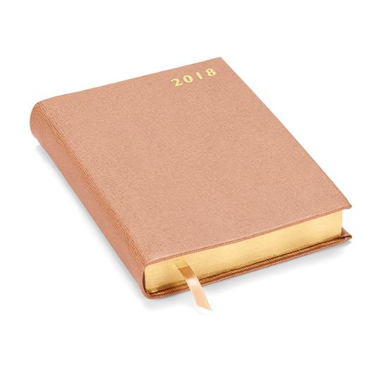 A6 Day per Page Leather Diary in Deer Saffiano from Aspinal of London