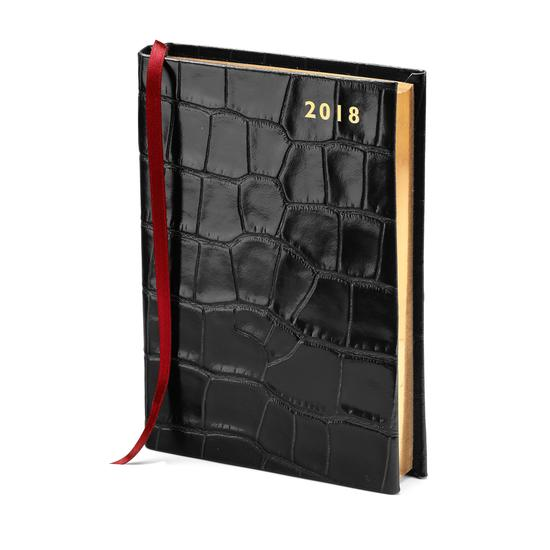 A6 Day per Page Leather Diary in Deep Shine Black Croc from Aspinal of London