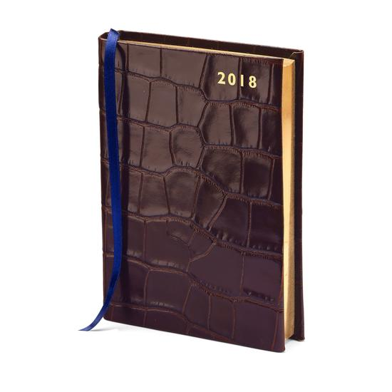 A6 Day per Page Leather Diary in Deep Shine Amazon Brown Croc from Aspinal of London