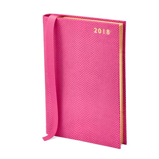 A5 Day per Page Leather Diary in Raspberry Lizard from Aspinal of London