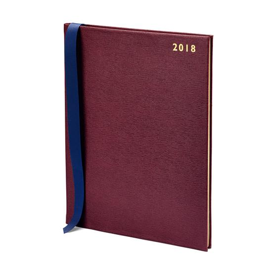 Quarto A4 Week to View Leather Diary in Burgundy Saffiano from Aspinal of London