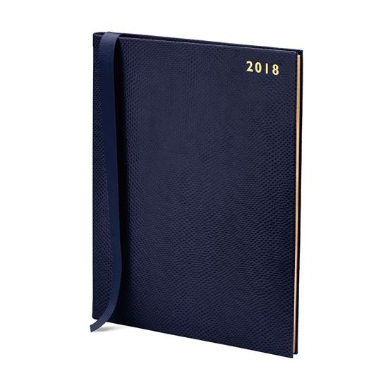 Quarto A4 Week to View Leather Diary in Midnight Blue Lizard from Aspinal of London