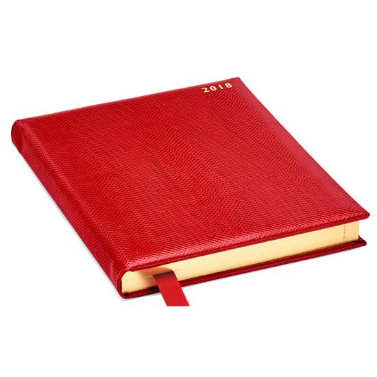 Quarto A4 Day per Page Leather Diary in Berry Lizard from Aspinal of London