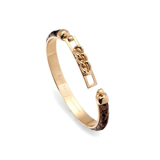 Chainlink Skinny Cuff Bracelet in Tan Snake from Aspinal of London