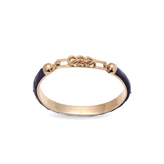 Chainlink Skinny Cuff Bracelet in Navy Snake from Aspinal of London