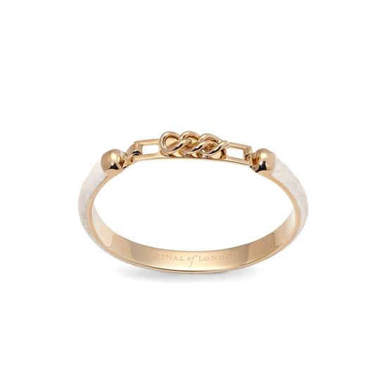 Chainlink Skinny Cuff Bracelet in Ivory Snake from Aspinal of London