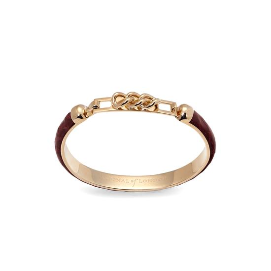 Chainlink Skinny Cuff Bracelet in Bordeaux Snake from Aspinal of London