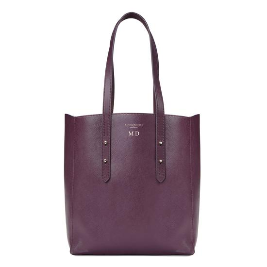 Aspinal Essential Tote in Grape Saffiano & Cream Suede from Aspinal of London