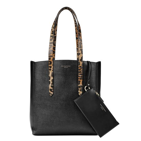 Aspinal Essential Tote in Digital Leopard Print & Black Suede from Aspinal of London