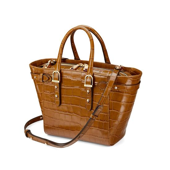 Mini Marylebone Tote in Deep Shine Vintage Tan Croc from Aspinal of London